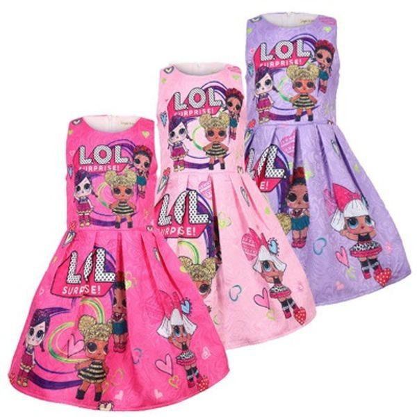 2019 ins butik sıcak satış çocuklar tasarımcı kızlar elbiseler lol bebekler baskılı prenses kız giyim 100-140