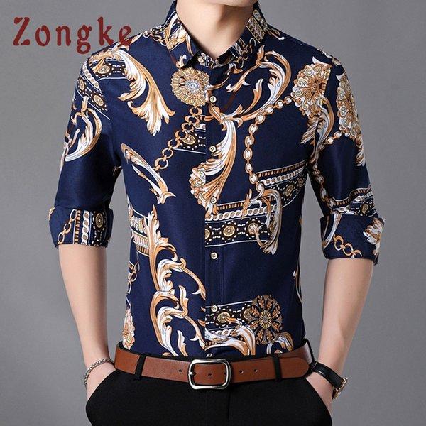 Zongke Akıllı Rahat Erkekler Gömlek Uzun Kollu Casual Slim Fit 7XL Streetwear Erkekler Gömlek Pamuk Gömlek 2019 Bahar Yeni Için