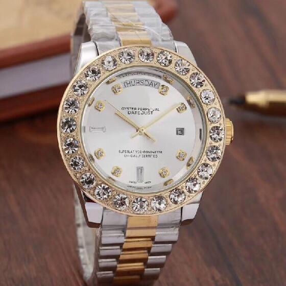 Top Brand Men Business Watch Luxury Diamond Quartz Watches Gold Silver Stainless Band White Large Dial Double Calendar Wrist watch Male 44MM
