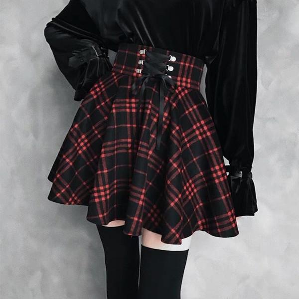 2019 Primavera Mujeres Gothic Lolita Falda Señoras Negro Rojo Plaid Plisado Vestido de Bola Cintura Alta Lace Up Vendaje Falda