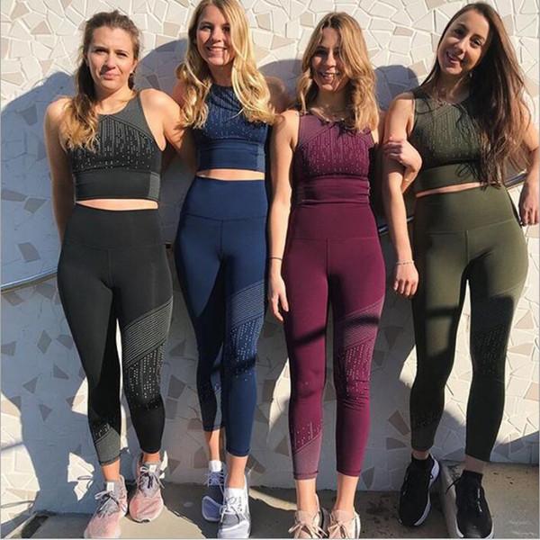 Tuta Donna Vestiti Yoga Felpe Tute Da Donna Fitness Sport Crop Top Pantaloni Stampa Suit Allenarsi Jogger Set Estate Moda Sportwear B4184