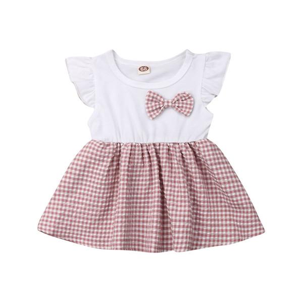 Newborn Baby Girls Cute Dress Summer Fly Sleeve Bow Plaid Dresses Kids Infant Girl Clothes Cotton Dress Princess Vestidos 2019