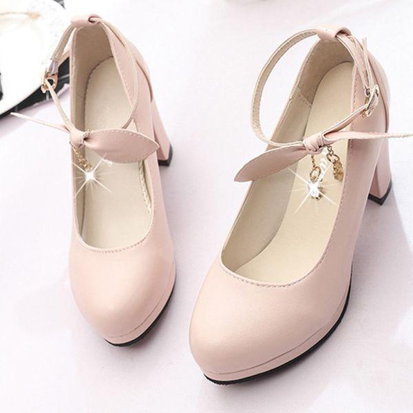 Dress Shoes Woman Sandals 2019 Summer Style Wedges Pumps Square Heels Buckle Strap Sandals Butterfly-knot Women Fashion Platform