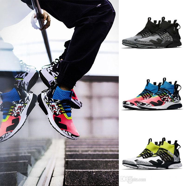 New Arrival ACRONYM® x Lab Presto Mid Running Shoes For Mens & Women, White Black Hot Lava Presto Shoes Trainers Outdoor Sports Sneaker