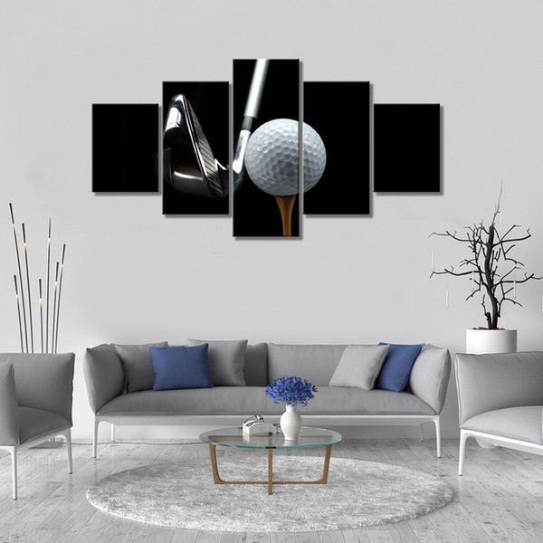 5 Piece Black and White Canvas Wall Art White Golf and Silver Golf Clubs Sports Poster Prints Contemporary Art Modern Home Decor