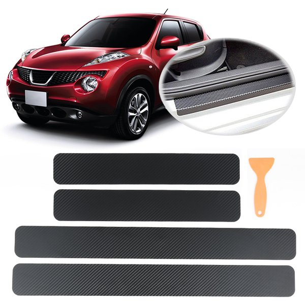 4Pc Black Car Door Plate Stickers Carbon 3D Fiber Look Car Sticker Sill Scuff Cover Anti Scratch Decal Universal for All