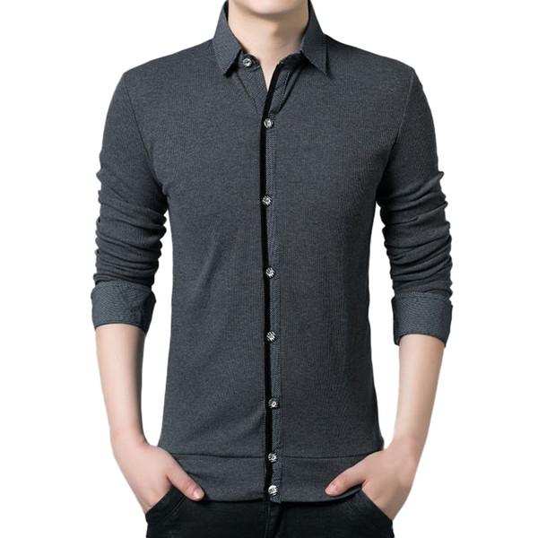 Plus Size Primavera New Casual Roupas Homens Moda Turn-collar Patchwork Camisa Tops Blusa de Escritório de Negócios camisa social Top