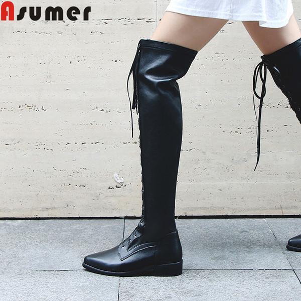 ASUMER 2019 novo sobre o joelho botas dedo apontado zip lace up senhoras sapatos baixos saltos pu + botas de couro genuíno das mulheres tamanho grande 34-42