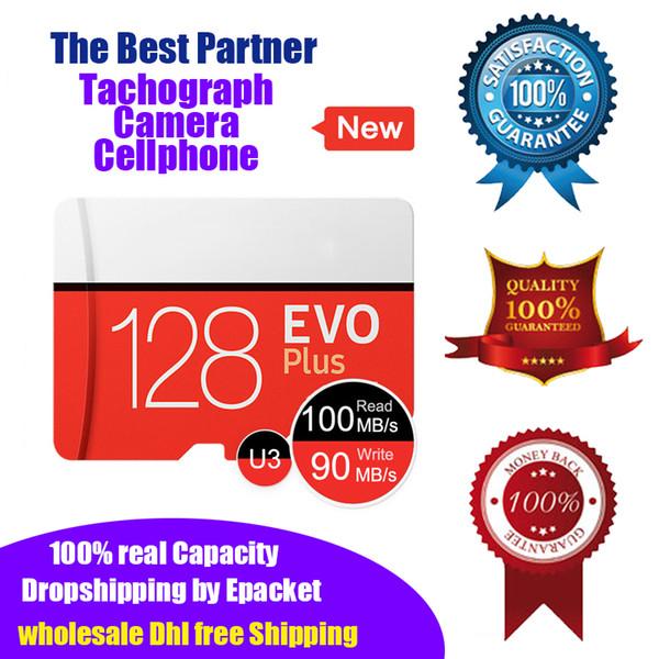 2019 new evo plu 128g real capacity u3 high peed micro d memory card 128gb tachograph tf card uh i micro d epacket dhl hipping