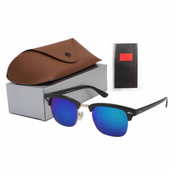 Best quality glass lens sun glasses Designer Fashion Gold Frame Blue Mirror Sunglasses For Men and Women UV400 Sport Sun glasses With box