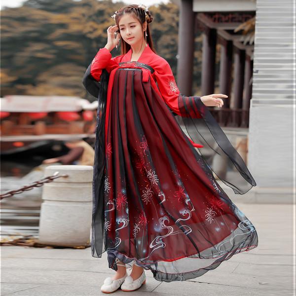 Traje de hadas de danza folclórica china de verano para mujeres bordado dinastía Tang Qing traje de danza de escenario princesa Hanfu vestido DL4158