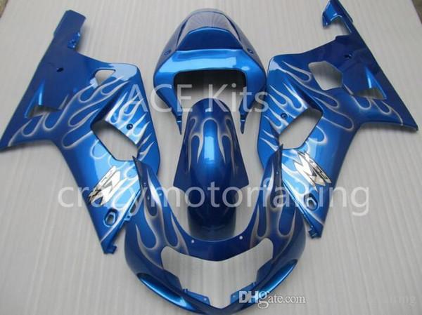 3 gifts Fairing For SUZUKI GSXR600 GSXR750 01-03 GSXR 600 750 GSX R600 R750 K1 01 02 03 2001 2002 2003 GSXR-600 Fairing Kit Blue Whit flame