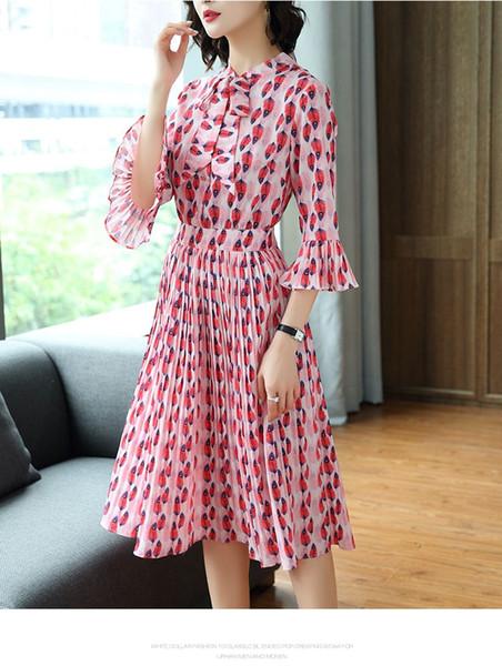 Eski Baskılı Elbiseler Yarım kollu Dantel-up Pileli Etek Vintage Kadınlar Elbise Yaz Yeni 2019