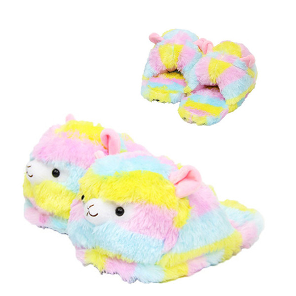 Llama Arpakasso Plush Slippers Girls Rainbow Alpaca Full Heel Soft Warm Household Winter Flip Flop For Big Children Home Shoes Free DHL 783