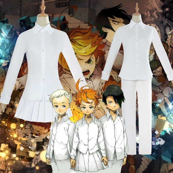 The Promised Neverland Emma Norman Ray Cosplay Costume White Shirt Skirt  School Uniform Halloween Party Mortal Kombat Cosplay For Sale Adult Cosplay