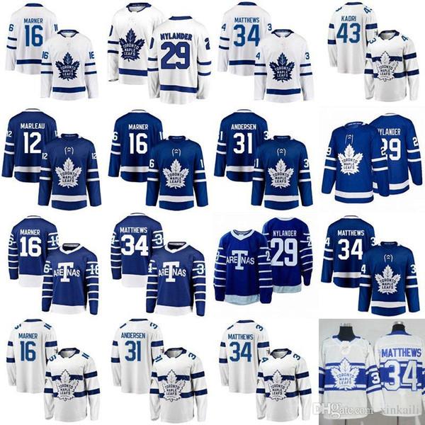 kadın çocuklar erkekler Toronto jersey 91 John Tavares 34 Auston Matthews 16 Mitchell Marner 31 ANDERSEN 43 KADRI 19 LUPUL buz Hokeyi formaları