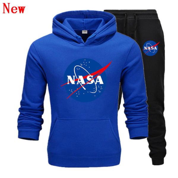Модельер NASA Спортивный костюм Весна Осень Повседневная Мужская Марка Спортивная Мужская Спортивные Костюмы Высокое Качество Толстовки Мужская Одежда QJ5
