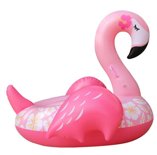 new150cm floral print flamingo mattress inflatable swan water pool swim ring cute water toy for kids adult pvc raft lounger