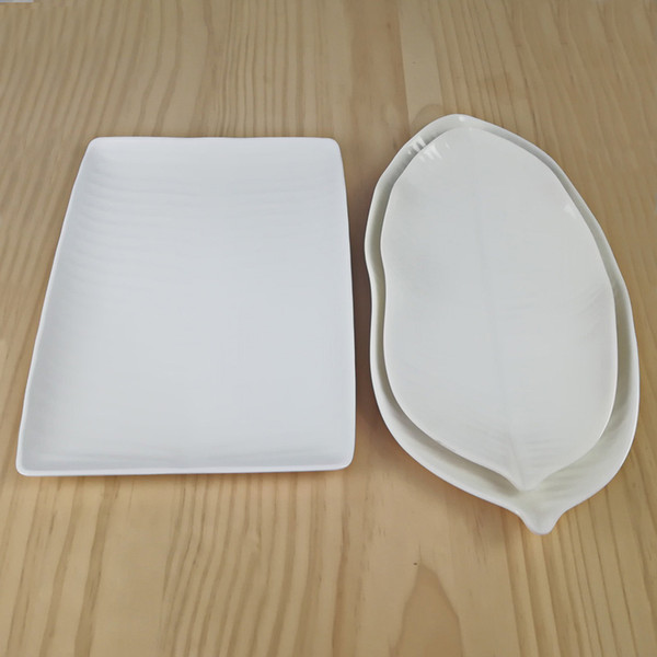 High-Grade A5 Melamine Dinnerware White Dinner Plate Banana Leaf Lrregular Dish Western Restaurant Porcelain Imitation Tableware