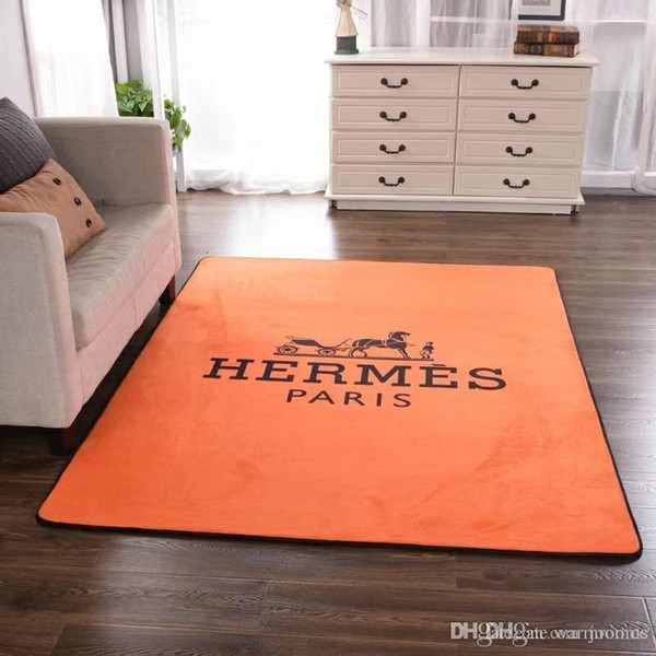 Fleece Fabric H Letter Carpet Orange New Fashion Horse Decoration Floor Mat  Kitchen Quality Print Anti Slip Pad NEW style