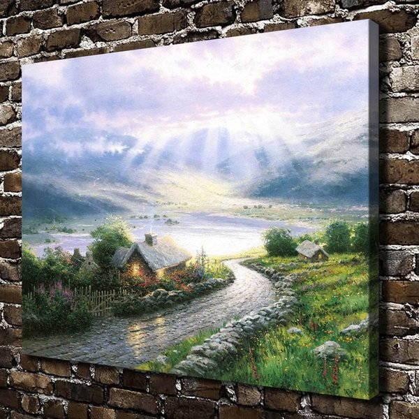 (Thomas Kinkade) Emerald Isle Cottage,1 Pieces Home Decor HD Printed Modern Art Painting on Canvas (Unframed/Framed)