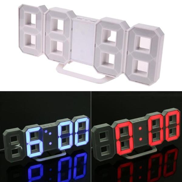 Orologio da parete a LED 3D Orologio da tavolo digitale con design moderno Orologio da tavolo con sveglia per la decorazione domestica del salotto