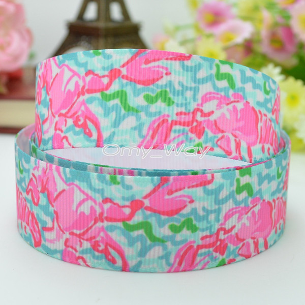 "Lilly Ribbons 7/8"" 22mm Lobster Printed Grosgrain Ribbon Hair Bow DIY Handmade Crafts Gift Ribbon Print 50Yards"