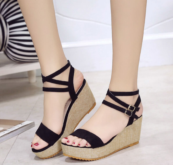 2019 summer new korean version of the roman wedge sandals waterproof platform fish mouth thick bottom elegant high-heeled cakes women's tide