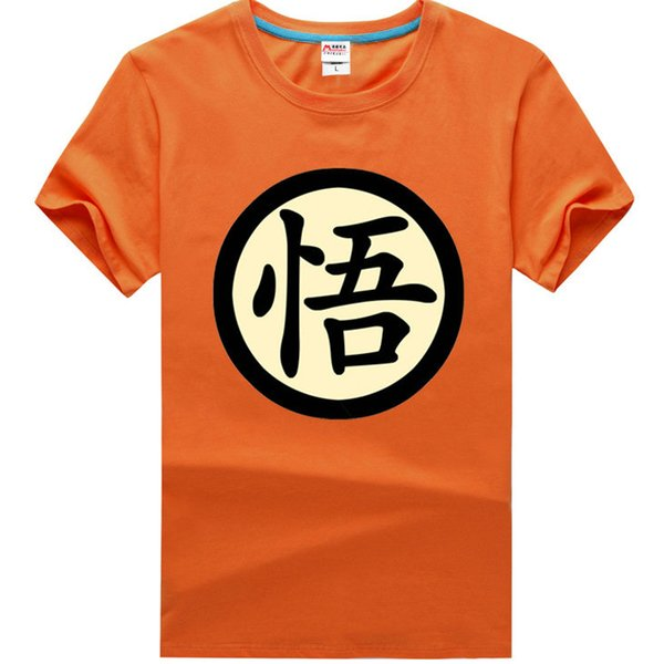 Orange t shirt Dragon ball Son Goku short sleeve gown Cosplay Kakarotto show anime tees Leisure printing clothing Unisex cotton Tshirt