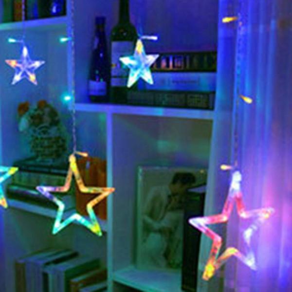 LED String Warm White Christmas Ornaments Fairy Christmas Lights Outdoor Star Guirlanda LED Cortina Decoração de festa