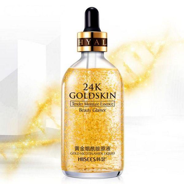 24K gold Foundation Liquid Essence Moisturizer Natural Facial Makeup Base 24K Gold Foil Oil Professional Make Up Matte Bases 15/30/50/100ML