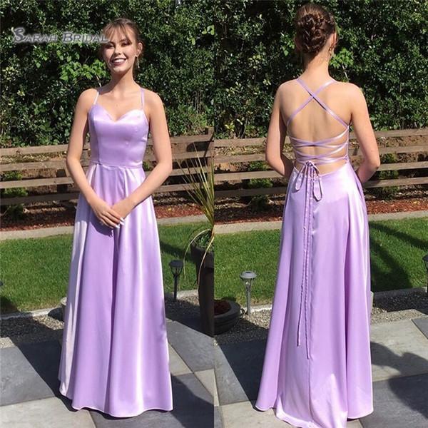 2019 Lilla Aline Halter Lace Up senza maniche Piano Lunghezza senza maniche Vestidos De Novia Wedding Dress da damigella d'onore