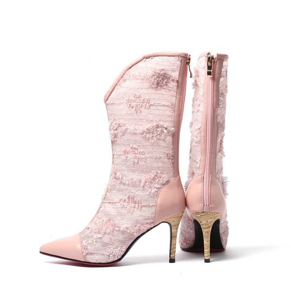 2019 vendita calda pelle di pecora primavera autunno a metà polpaccio stivali scarpe a rete donne scarpe a punta tacco oro scarpe tacco basso stivaletti