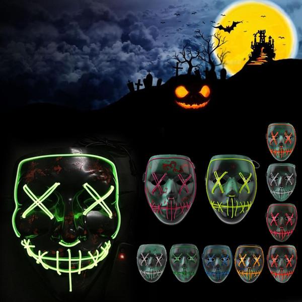 Maschera di Halloween Light Up del partito La Purga Elezione Anno luminoso Maschera legare di EL Horror Horror sanguinosa Club Natale Smorfia