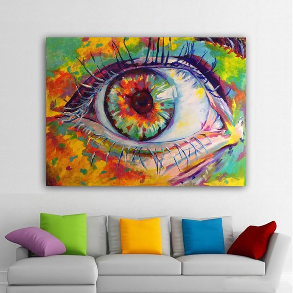 1 Panel Canvas Painting Abstract Eye Colorful Posters And Prints Cuadros Painting Wall Art Pictures Decoration No Framed