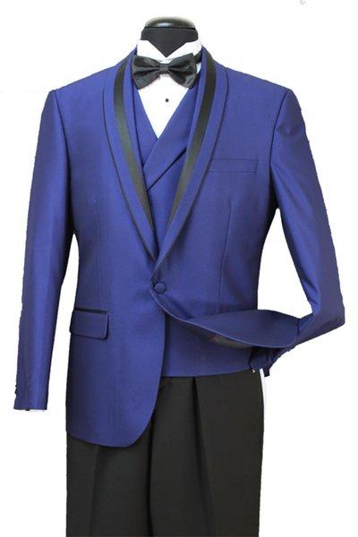 Classic Design Groom Tuedos Shawl Lapel One Button Groomsmen Mexns Wedding Suits Popular Man Blazer Suits(Jacket+Pants+Vest+Tie) 720