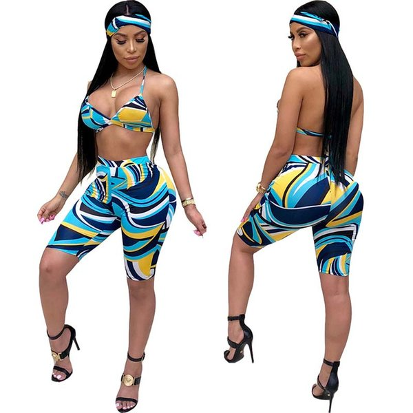 Summer Sexy 3 Piece Outfits for Women Bra Crop Tops Short Bodycon Pants Party Club Shorts Set