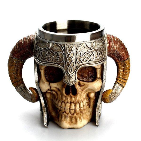 Double Handles Cup Sheep Horn Human Skeleton Skull Creative Coffee Mugs Resin Metal Stainless Steel Casual Tumbler Beer Juice 33mm N1