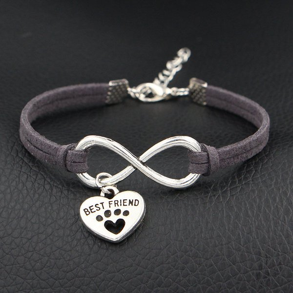 Dark Gray Leather Rope Wrap Bracelet Boho Infinity Pets Dog Paw Best Friend Friendship Bangles Unique Handmade Cuff Ethnic Jewelry Women Men
