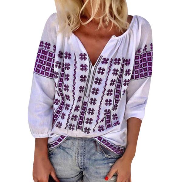 Casual Mujer Floral Impreso V Cuello 3/4 Manga T Shirts Camisa de las señoras Tops de verano Camisetas gráficas Ropa de moda Camisetas Mujer 2 #