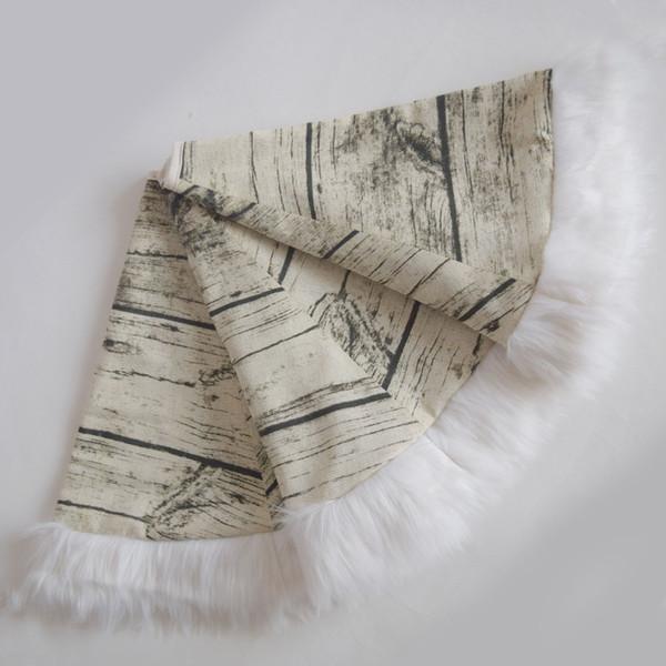 Free shipping Christmas Tree Skirt Printe Canvas XMAS Tree Decoration Merry Christmas with faux fur border deocration