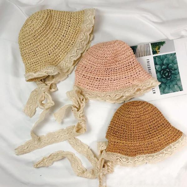 Niñas Sombrero de Paja de Encaje Niños Lindo Verano Playa Sombrero de Sol Casual de Encaje de Ala Ancha Sombrero Floppy Princesa Sombrero de Protección Solar TTA1037