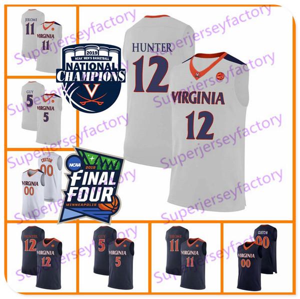 2019 Campeões Virginia Cavaliers Kyle Guy Branco Jersey # 5 UVA NCAA Final Azul Navy Mens Four # 12 DE'ANDRE Hunter Basketball Jerseys S-3XL