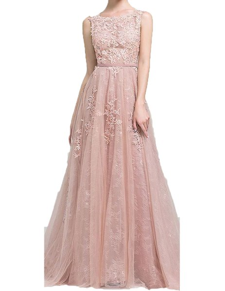 2019 Long Prom Dresses A Line Appliques Lace Sleeveless With Belt Blush Pink Formal Evening Gowns Prom Dress Party dress