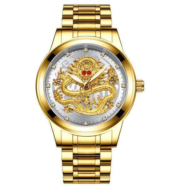 2019 top Uomo golden dragon watch rubino in acciaio inossidabile quarzo moda maschile diamanti orologi uomo d'affari orologio