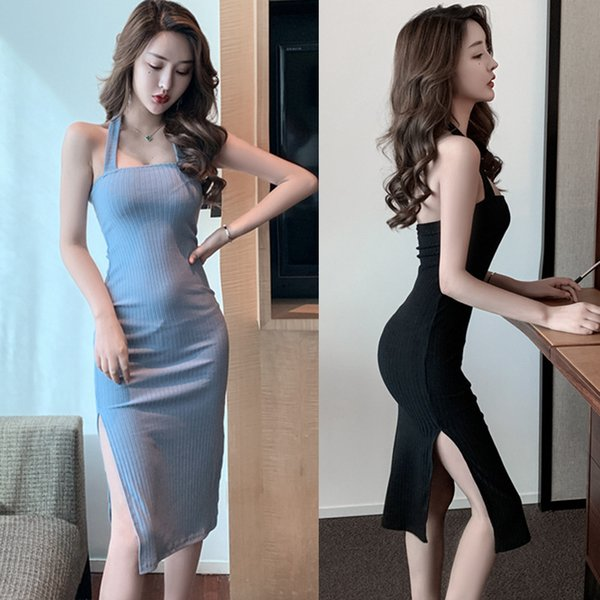 3 Sizes Rib Cotton Summer Women Sexy Halter Show Thin Splitting Backless Sleeveless Bottomed Dress Mid-leng Skirt QC0352
