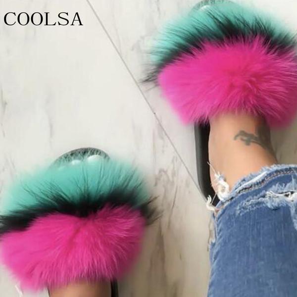 COOLSA Kış kadın Peluş Terlik Kapalı Kürklü Ev Ayakkabıları Kadınlar Için Sıcak Fox Kürk Terlik Slaytlar Çevirme Kabarık Sandalet