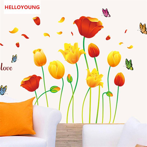 DIY Yellow Red Flower Tulip PVC Removable Room Home Decor Decal Kid bedroom Wall Stickers Poster home decor