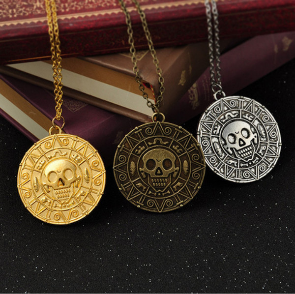 2019 Vintage Bronze Gold Coin Pirate Charms Aztec Coin Necklace Men's Movie Pendant Necklaces for Lady Xmas Gift Fashion Jewelry