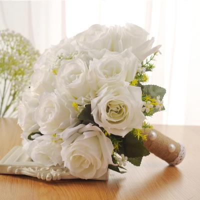 Holding Flower Rose Bridal bouquet Spring Artificial Flowers Imitation Pearls hand bouquet wedding bridal bouquet Silk cloth Customized Gift